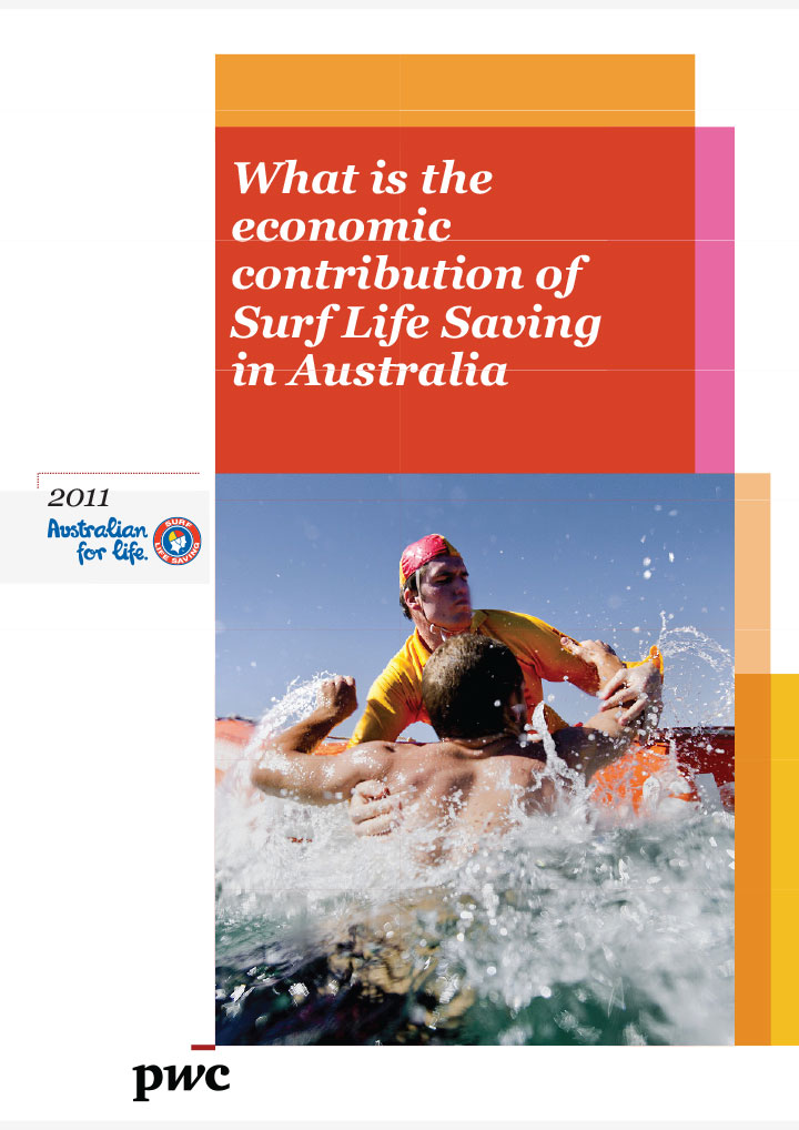 PWC report cover detailing the economic contribution of Surf Life Saving in Australia