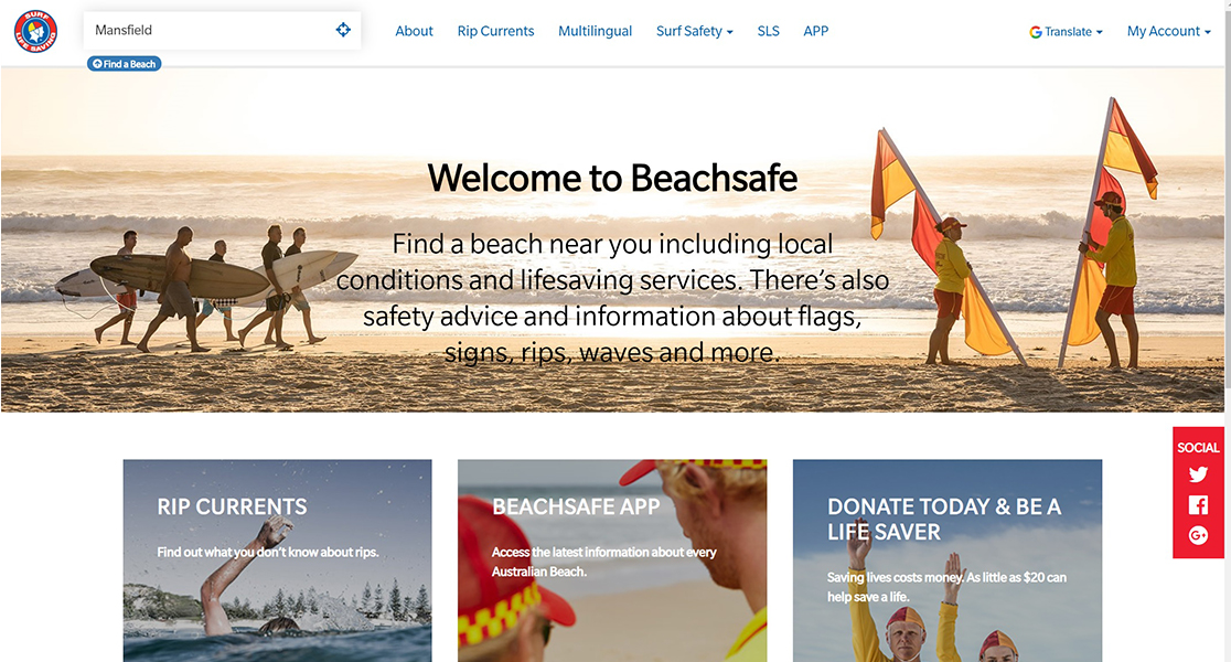 front page of beachsafe.org.au