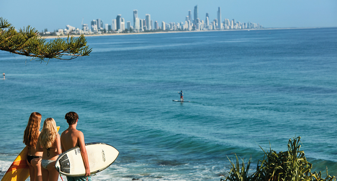 View of goldcoast with surfers on beach